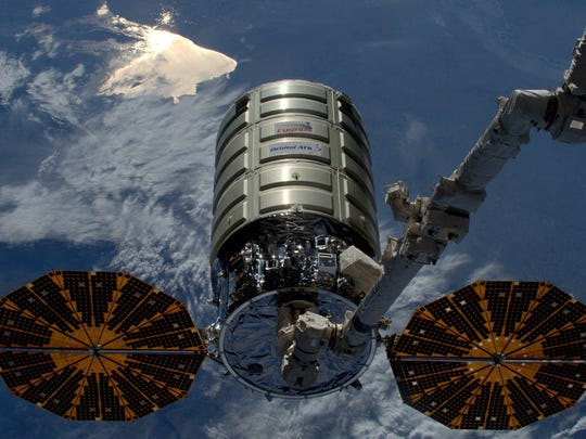 Orbital ATK's Cygnus cargo craft was released by the