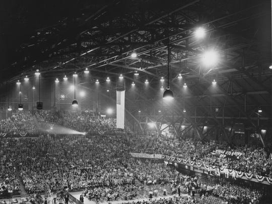 "Harlan ""Pat"" Page (no photo available) was instrumental in the construction of the Butler (now HInkle) Fieldhouse. In this photo, a crowd filled the fieldhouse in advance of a 1954 appearance by President Dwight Eisenhower, who spoke about farm problems and policies."