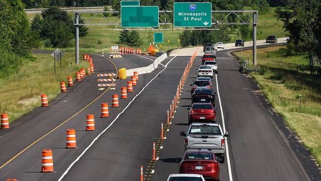 In this July 2016 file photo, construction continues on eastbound Interstate Highway 94, with the exit to Stearns County Road 75 into St. Joseph closed.