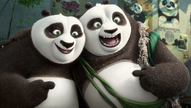 """DreamWorks Animation Po (voiced by Jack Black) meets his long-lost panda father Li (Bryan Cranston) in """"Kung Fu Panda 3."""""""