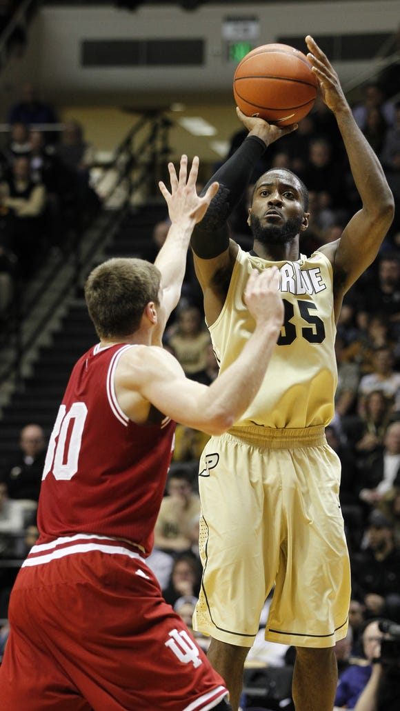 Purdue rising senior Rapheal Davis, who has displayed a knack for making baskets late in the shot clock, may have to take those shots a little sooner next season.