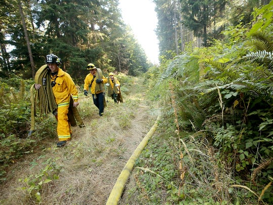 Central Kitsap and Bremerton firefighters carry hoses down an access road as crews work to extinguish a brushfire off of Riddell Road in Illahee Preserve on Monday, September 11, 2017.