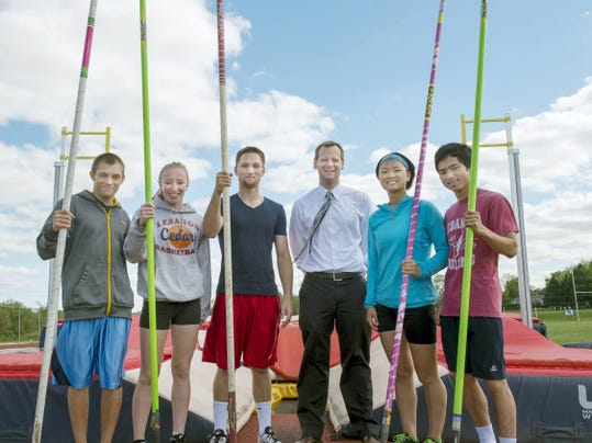 Lebanon High pole vaulters, from left, Jesse Brownstein, Erin Winters, Eric Peiffer,  coach Steve Richards, Jeannie Showers and Huy Luu are all headed to this weekend's District Three Championships at Shippensburg University.