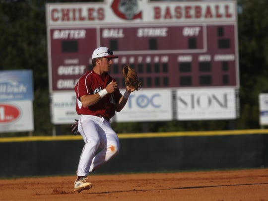 Chiles shortstop Jozsef Rohrbacher fields a ground ball and prepares to fire to first.