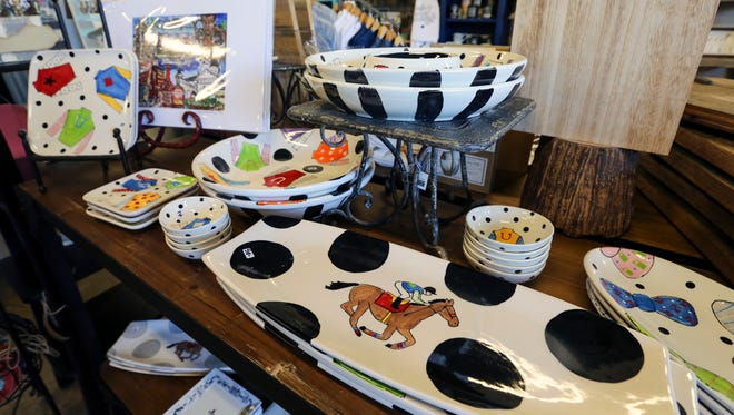 Decorate the whole table with horse-themed, locally-made items. For Pete's Sake by Susan Brown $14-18 at Tunies.