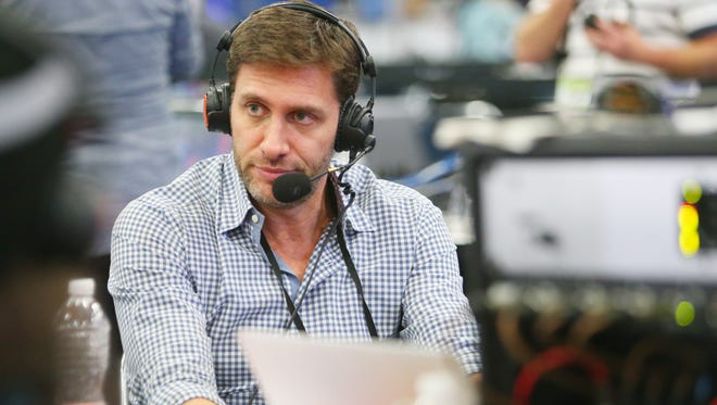 Feb 1, 2017; Houston, TX, USA; ESPN personality Mike Greenberg is interviewed on radio row at the George R. Brown Convention Center in preparation for Super Bowl LI.