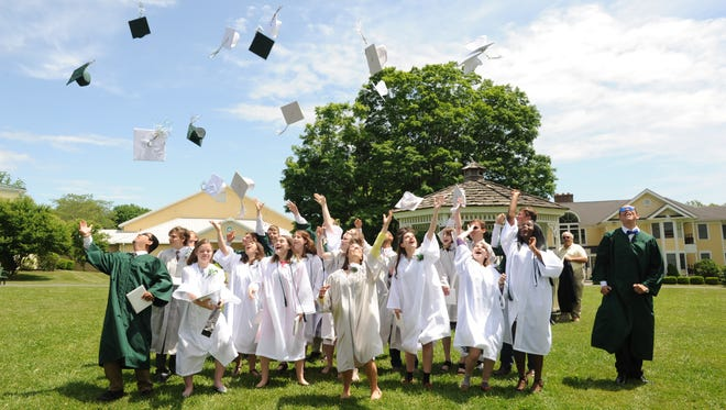 Maplebrook School graduates celebrate after commencement on June 3 in Amenia.