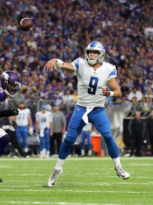 Lions quarterback Matthew Stafford has seven TD passes and one interception through the first four weeks of the season. He had none of either in Week 4 vs. Minnesota.