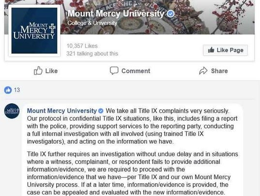 Mount mercy criticized on facebook for handing of campus for Mount mercy email