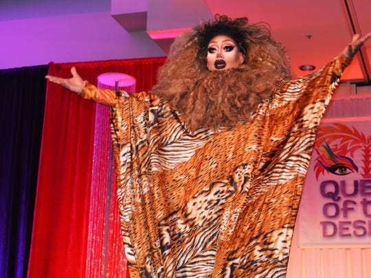 Contestant Mystic BeFierce Miller performs at the Desert AIDS Project's annual Queen of the Desert pageant on Wednesday, June 1, 2016.