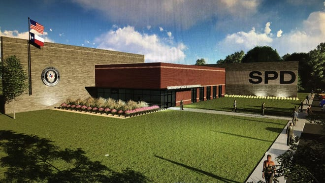 An artist rendering shows a proposed design for the new Sherman Police Station. City leaders proposed land off of Northgate Drive as a possible site for the station.