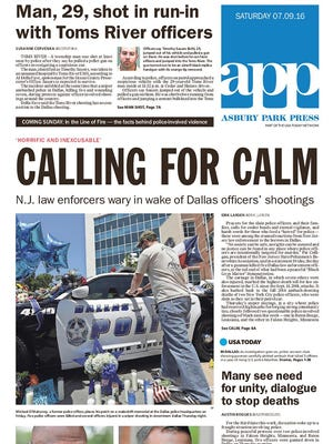 Asbury Park Press front page, July 9, 2016