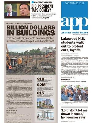 Asbury Park Press front page, Saturday, May 13, 2017