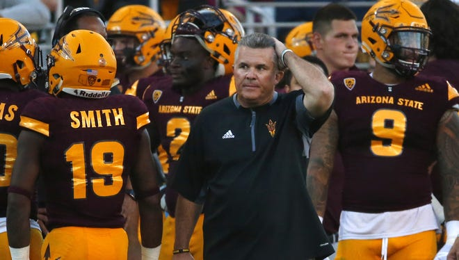 Arizona State Sun Devils head coach Todd Graham watches his team during the 91st Territorial Cup game against the Arizona Wildcats at Sun Devil Stadium in Tempe on November 25, 2017.