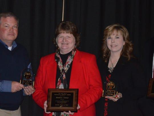 Lee Eaton, left to right, Marsha Logue, Talisa Gibbs and Aaron Duke were the winners of Wilson Bank's annual employee awards.
