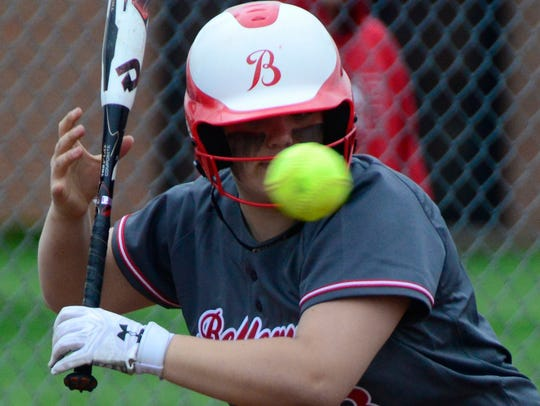 Bellevue's Lyndsey Seamon looks at a pitch up-and-in