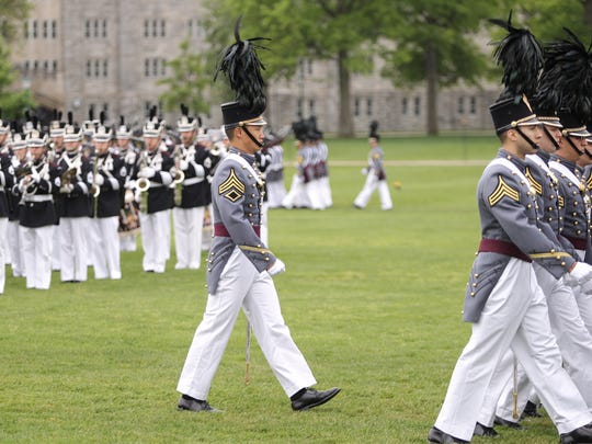 Tuckahoe resident David Cho (Rye Country Day School) marches in a Pass in Review during graduation week activities at the United States Military Academy at West Point on Tuesday, May 23, 2017.