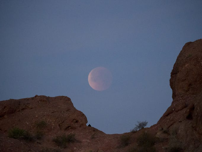The super blood blue moon, January 31, 2018, over Papago