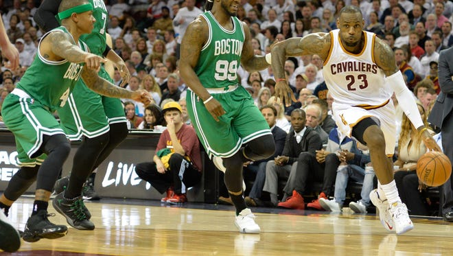Cleveland Cavaliers forward LeBron James (23) drives against Boston Celtics forward Jae Crowder (99) in the second quarter in game two of the first round of the NBA Playoffs at Quicken Loans Arena.