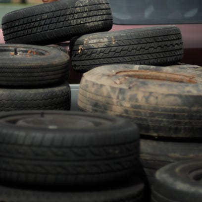 Old tires to be recycled.