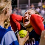 Sierra Stoepker of Lakewood is overcome with emotion as a teammate presents her with the game ball after she hit a walk-off homerun to defeat DeWitt 10-9 in the 14th inning of their Softball Classic championship game Friday May 20, 2016 at Ranney Park in Lansing.
