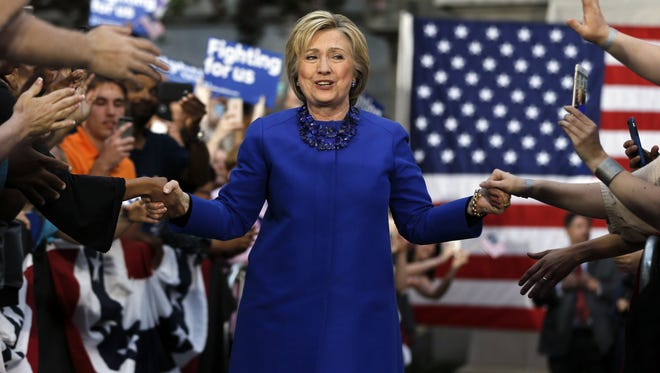 Democratic presidential candidate Hillary Clinton arrives for a during a campaign stop, Monday, April 25, 2016, at City Hall in Philadelphia. (AP Photo/Matt Rourke)