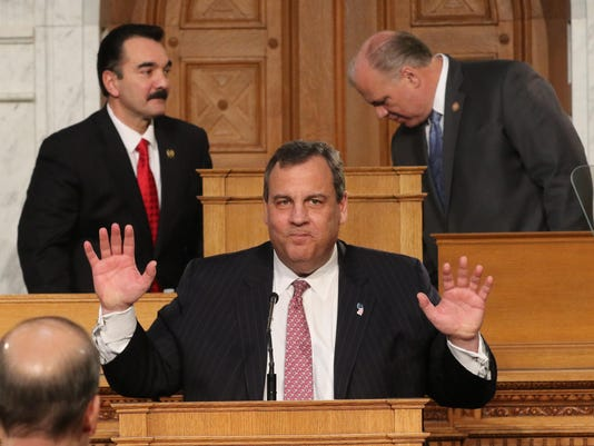 Governor Chris Christie delivers his State of the State speech to the legislature in the Assemblyroom.