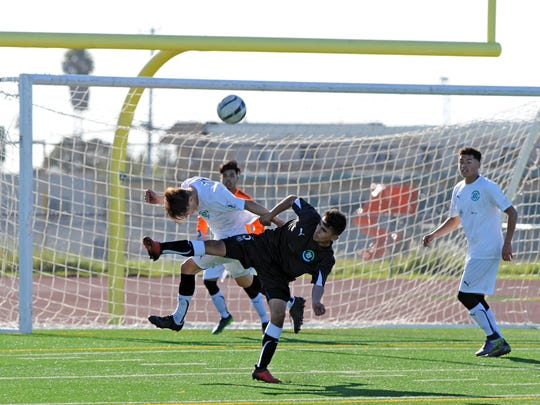 Fierce action in front of the Wind goal during the 2017 Salinas Californian All-Star Classic soccer matches on Sunday, March 12th.