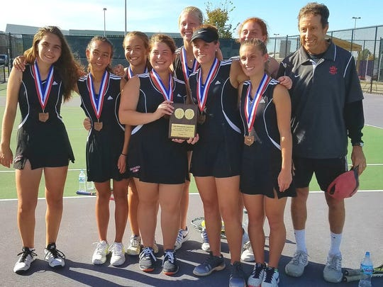 Indian HIll finished third in the Ohio Tennis Coaches Association Division II tournament in Reynoldsburg Oct. 22.