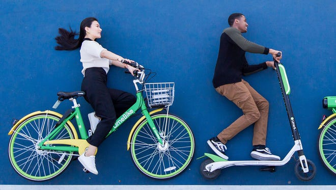 The California-based LimeBike deploys dockless, motorized bikes and scooters.