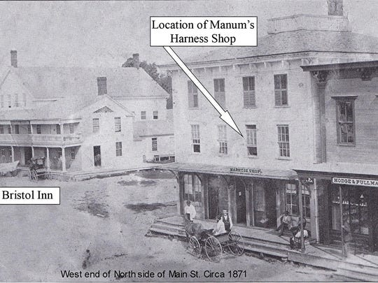 Photo of downtown Bristol circa 1871 shows location of A.E. Manum's harness shop.