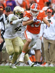 Clemson wide receiver Hunter Renfrow (13)  makes a first down reception against Wake Forest during the 3rd quarter on Saturday, October 7, 2017 at Clemson's Memorial Stadium.