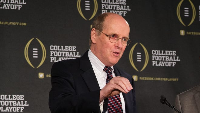Bill Hancock, executive director of the College Football Playoff, said Tuesday the event will remain at four teams for its original 12-year duration.
