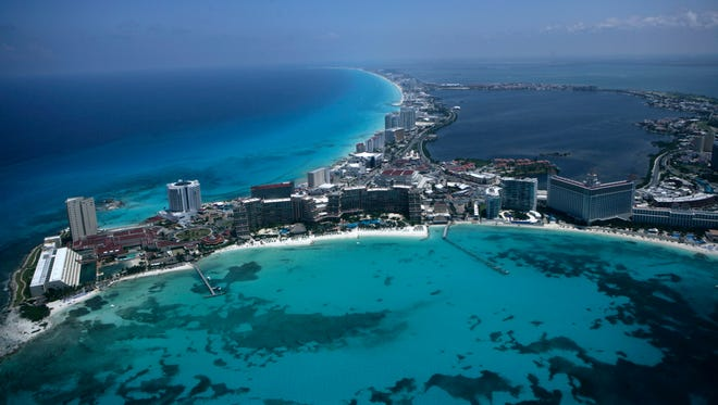 In this photo taken on June 11, 2009, an aerial view of the resort city of Cancun is seen in Mexico.