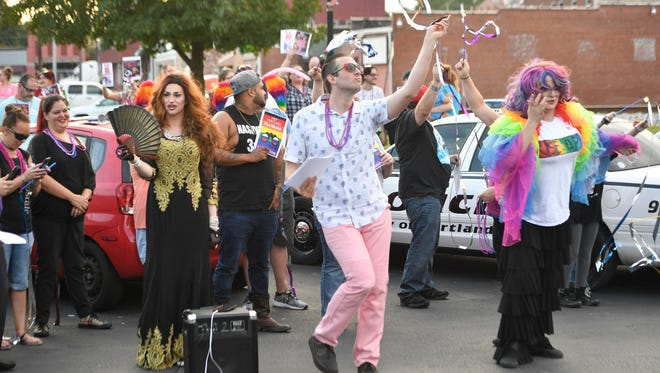 Crowds voice opinions on both side of the issue on holding drag shows in the city of Portland. The rally on Monday, sept. 18, 2017 was held before the Portland City Council voted for the second time on the ordinance.