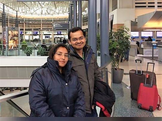 Praveen Sinha and his wife, Shweta Qumari.