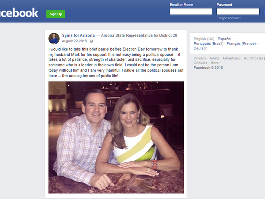 Mark Syms (left) and his wife state Rep. Maria Syms as shown on her candidate Facebook page.