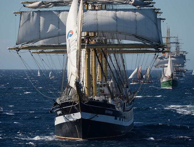 The French sailing ship Belem takes part in the Legendary Sails regatta of tall ships on Sept. 30 in the Mediterranean near Toulon, southern France.