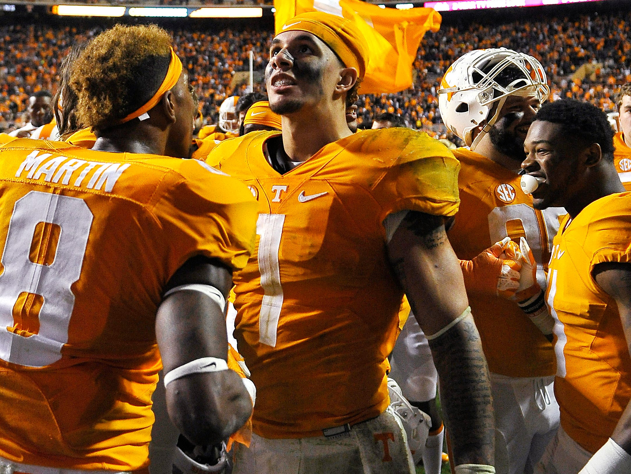 Tennessee running back Jalen Hurd (1) celebrates Tennessee's win over South Carolina.