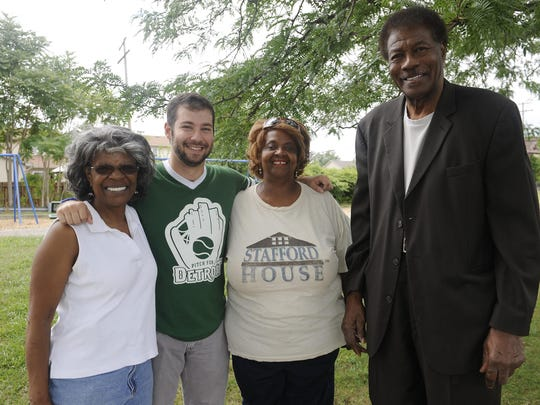 (l-r, Phillis Judkins, President 4ward Phoenix Youth North End Patrol, Gabe Neistein, Co-Chair Pitch for Detroit, Pat Dockery and Josh Mack, Executive Director, Moore Community Council, Inc.)Pat Dockery, executive director of nonprofit Stafford House, Inc., which serves as the ambassador for Bradby Park, showing the field house at the North End site. Detroit, Mi, August 20, 2015. (Clarence Tabb, Jr./The Detroit News)