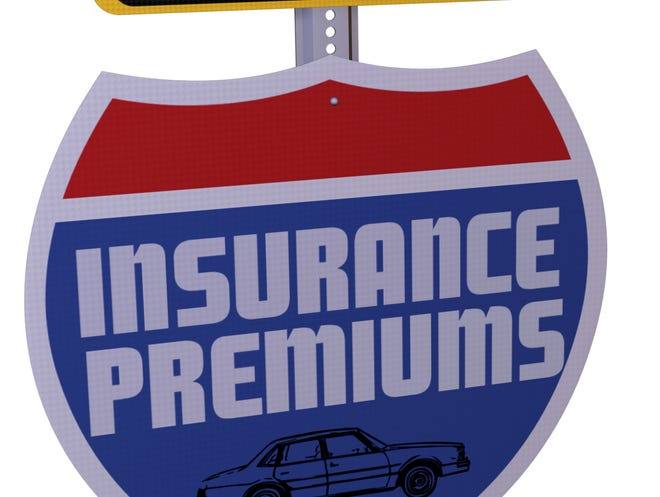 300 dpi 3 col x 4 in / 136x102mm / 1610 x 1207 pixels  Sign saying Lower Insurance Premiums.