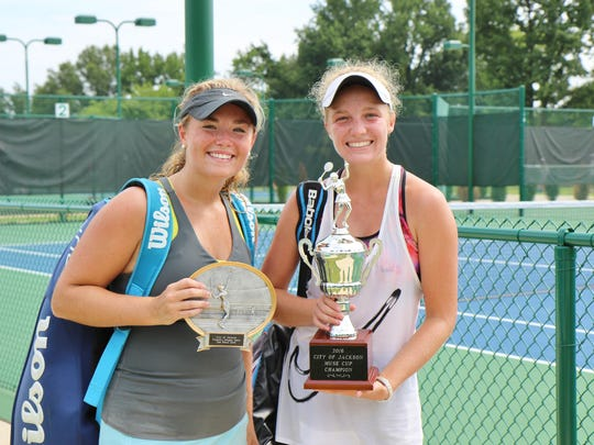 Tori Hockaday (left) and Elise Sickle (right) pose after playing in the Muse Cup championship on Saturday.