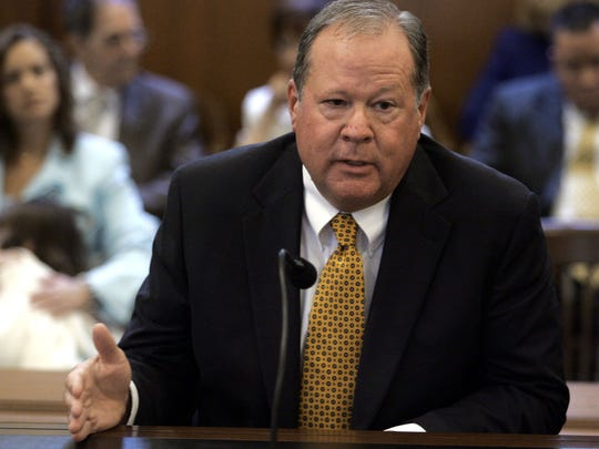 Monmouth County Judge Michael Guadagno, husband of Lt. Gov. Kim Guadagno, testifies during his confirmation hearing in 2005.