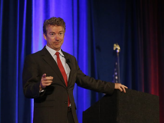 Senator Rand Paul (R-KY) speaks at the Hamilton County Republican Club Lincoln-Reagan Day Dinner.
