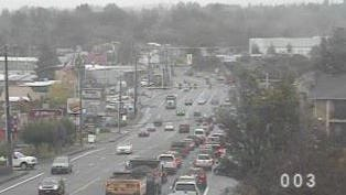 Traffic backs up on Wallace Road NW Wednesday morning.
