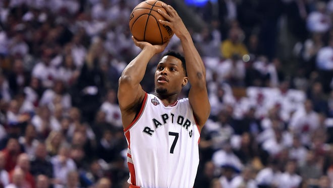 Toronto Raptors guard Kyle Lowry (7) takes a shot against Miami Heat in Game 1.