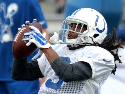 Indianapolis Colts wide receiver Nu'Keese Richardson makes a catch during practice at training camp, on Saturday, August 9, 2014, in Anderson.