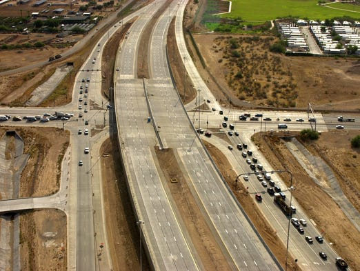 A birds-eye view of Loop 101 construction between Cave