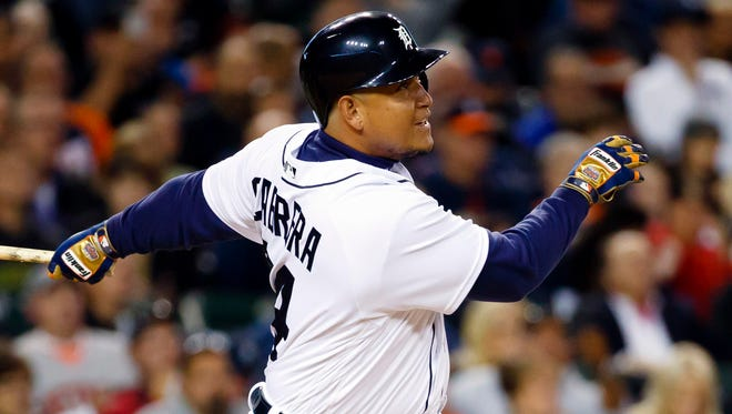 Tigers first baseman Miguel Cabrera (24) hits a three-run home run in the second inning Tuesday at Comerica Park.