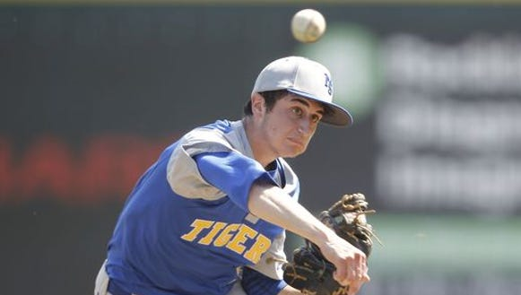 North Salem's Danny Capra delivers a pitch during a